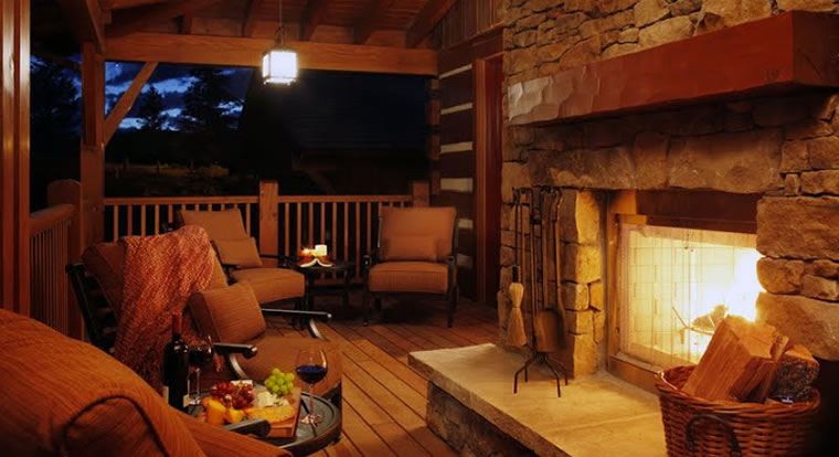 Eagle Ranch Luxury Chalets - Outdoor fireplace. Invermere, BC
