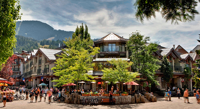 Crystal Lodge - Patio. Whistler BC.