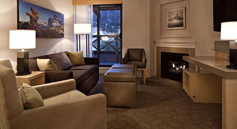 Delta Whistler Village Suites - Living Room. Whistler, BC
